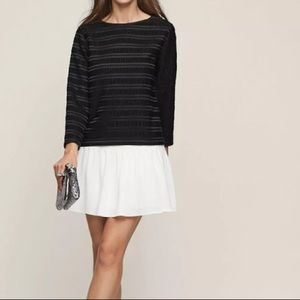 Reiss Black Mandy Pleated Long Sleeve Top